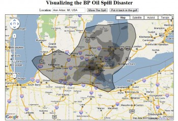 Pic of BP oil spill super imposed over Ann Arbor, MI