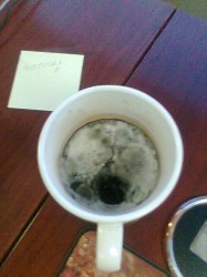 Pic of moldy coffee cup.