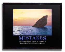"Pic of ""Mistakes"" demotivator poster."