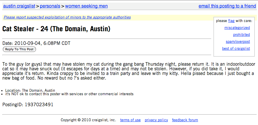 Pic of Craigslist ad for cat lost during gang bang.