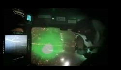 Pic of helicopter cockpit hit by laser pointer.