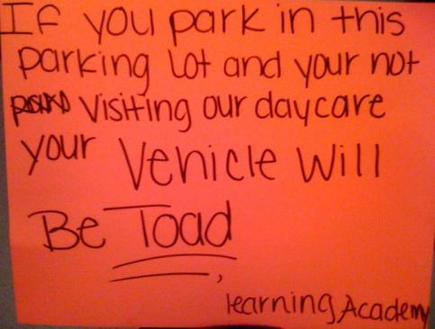 Pic of Daycare parking sign.